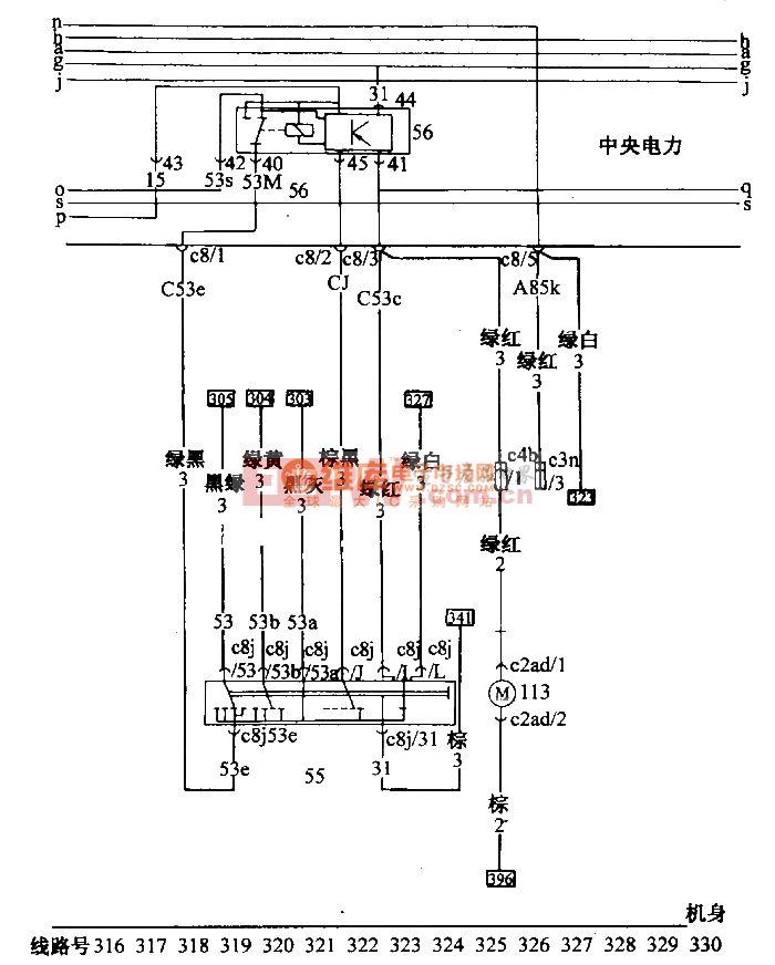 桑塔纳 2000(汽油喷射发动机)轿车刮水 ,洗涤电路配线图