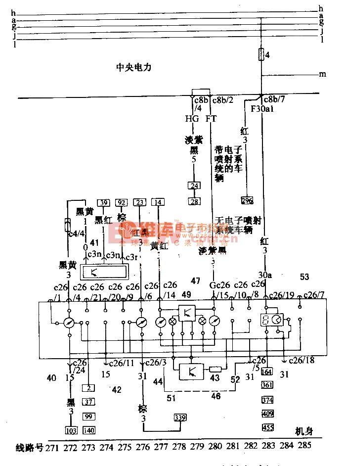 桑塔纳 2000 汽油喷射发动机 轿车组合仪表电路配线图 二高清图片