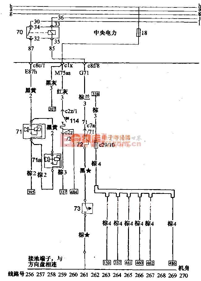 桑塔纳2000(汽油喷射发动机)轿车喇叭,点烟器电路配线