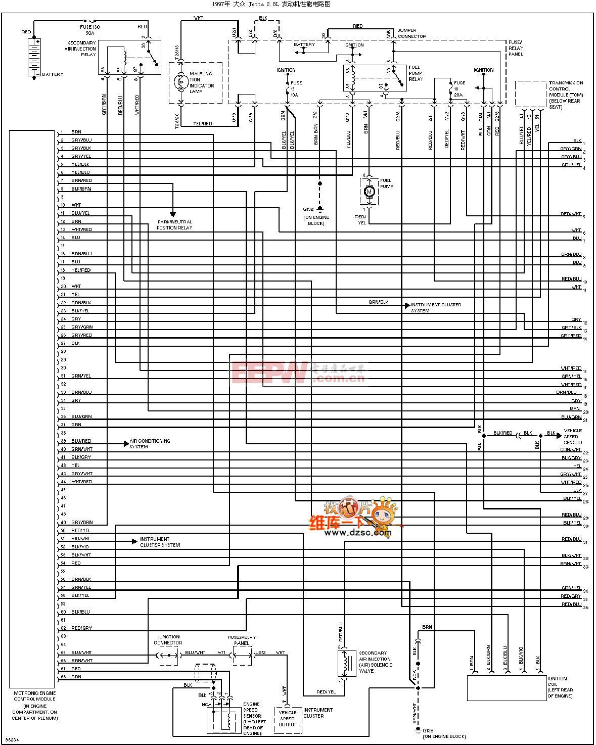 1997大众捷达2.8l 发动机性能电路图