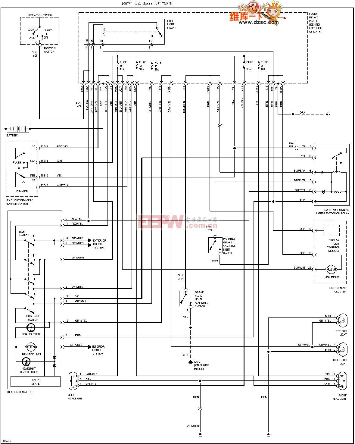 1997捷达大灯电路图-综合电路图-电子产品世界