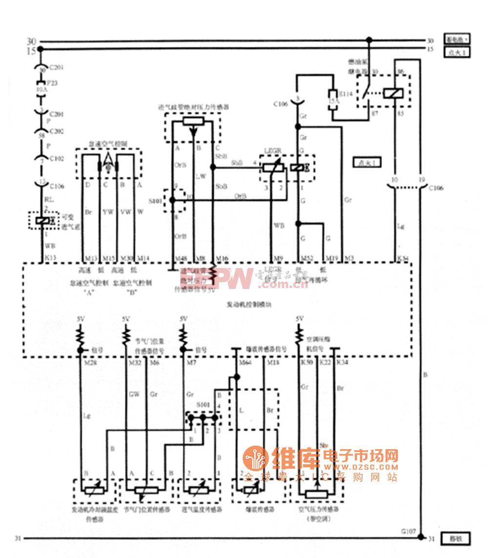 凯越电控怠速空气控制、传感器(进气歧管绝对压力、发动机冷却液温度、节气门位置、进气位置、爆震、空调压力和可变进气道)和LEGR电路图