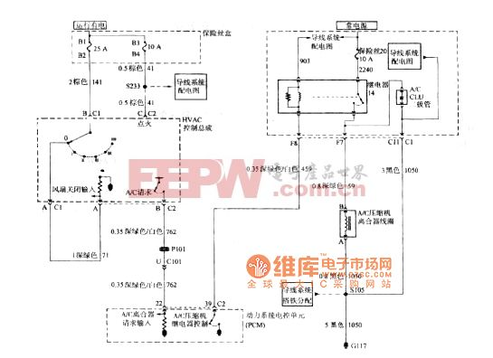 别克GL8汽车HVAC控制总成、动力系统电控单元、空调压缩机离合器线圈、空调离合继电器和空调离合器二极管C60电路图