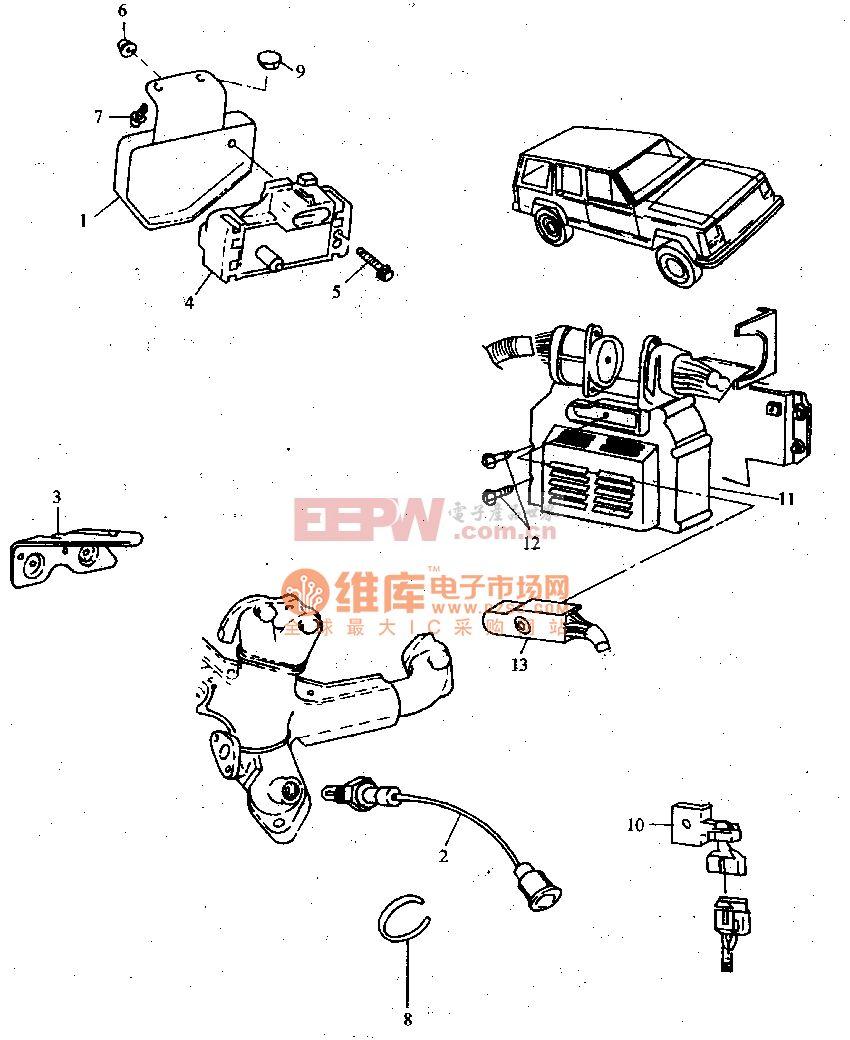 汽油喷射发动机电脑和传感器电路图图片