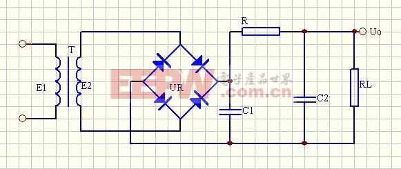 单相桥式整流∏形滤波电路图