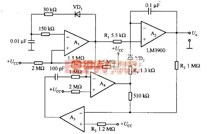 由LM3900等构成的阶梯波发生电路图片