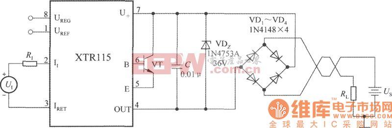 精密电流变送器XTR115的保护电路图