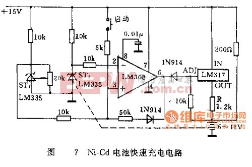 LM135 Ni—Cd电池快速充电电路图