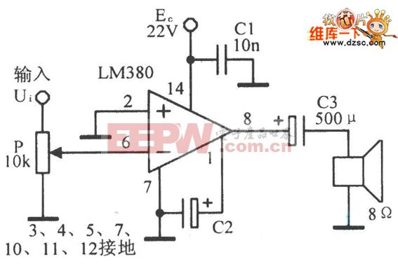 LM380集成音频功率放大器的应用电路图