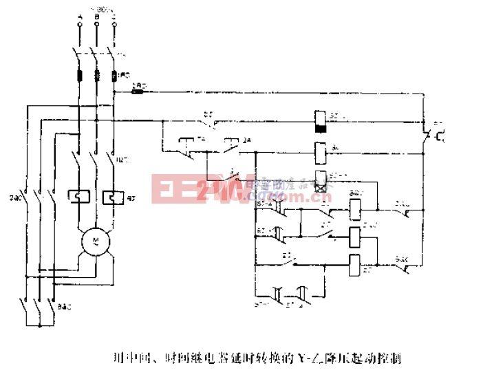 用中间、时间继电路延时转换的Y-降压起动控制.gif
