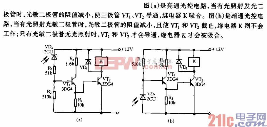 光敏二极管光控典型电路.gif