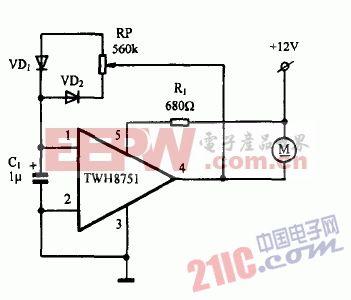 巧用twh8751作直流电机调速器电路图