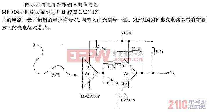 帶有光電接收器和電壓比較器的光纖通信接收電路