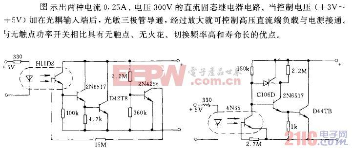 0.25A、300V的直流固态继电器电路.gif