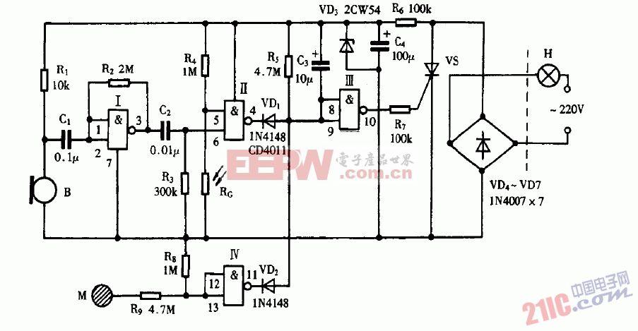 巧用CD4011作声灯触摸三控延迟灯电路图