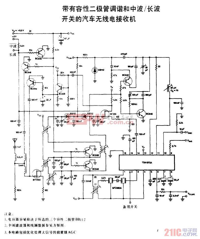 带有容性二极管调谐和中波 长波开关的汽车无线电接收机.gif