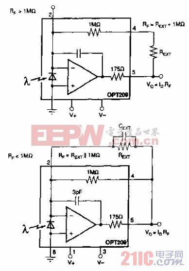 OPT209用外反馈电阻电路.gif