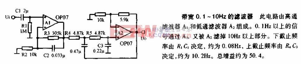 带宽0.1HZ-10hz的滤波器电路图.gif