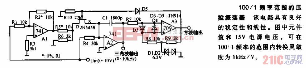 100-1频率范围的压控振荡器电路图.gif