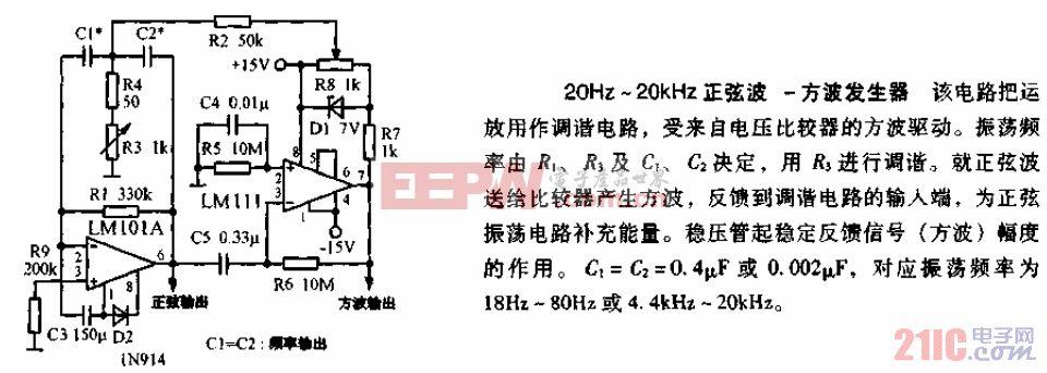 20HZ-20KHZ正弦波-方波发生器电路图.gif
