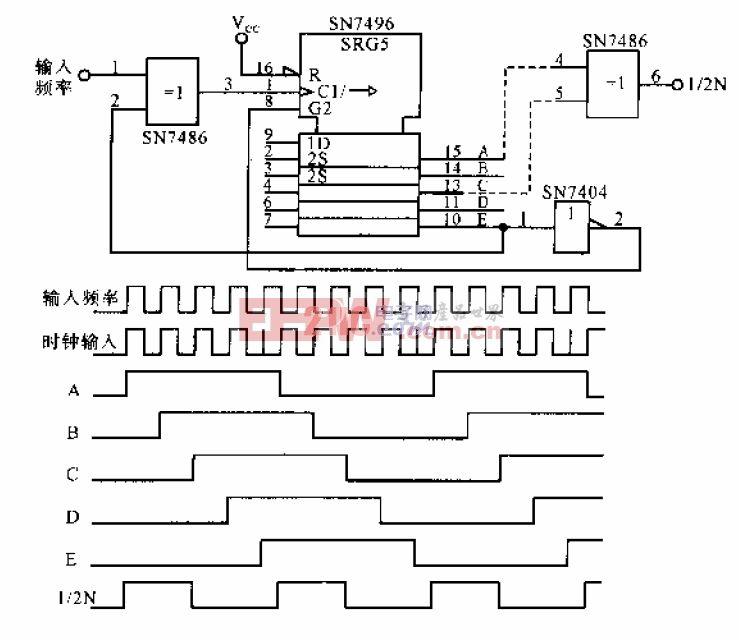 用移位寄存器实现频率除以9的电路.gif