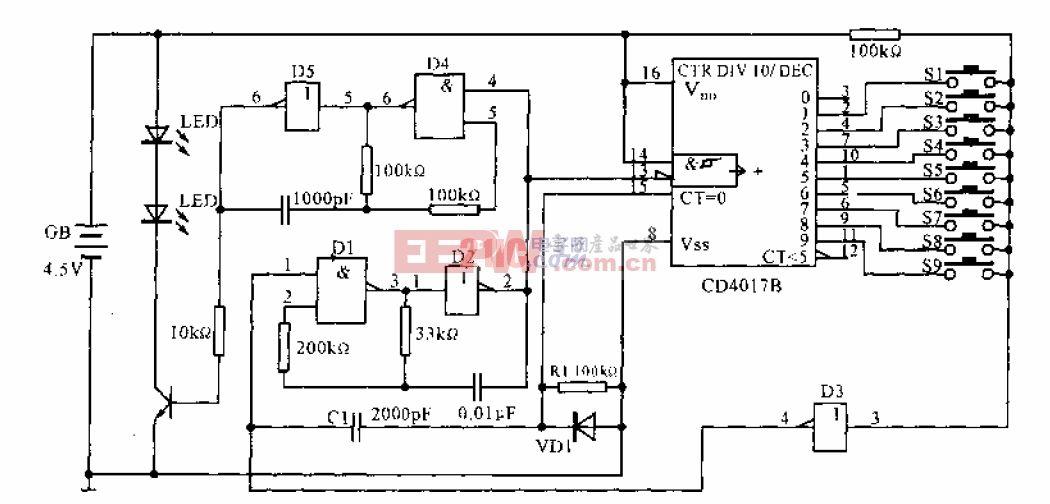 采用十进制计数器、脉冲分配器构成红外遥控互锁开关.gif