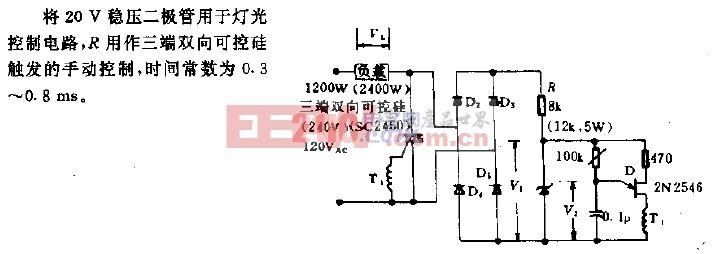 1.2kW单结晶体管-三端双向可控硅电路.gif