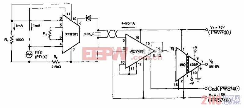 RTD隔离4至20m变换电路.gif
