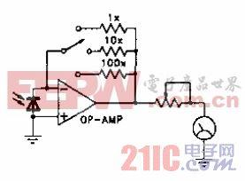 光度表(有三个灵敏度)电路.gif