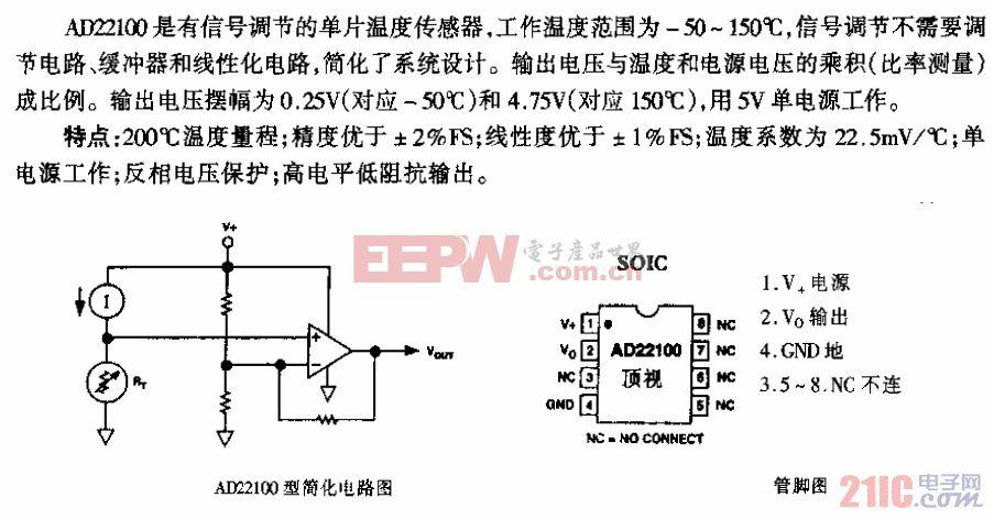 AD22100型具有信号调节电压输出温度传感器电路.gif