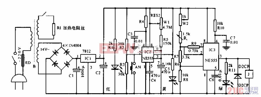 家用电热敷控温电路.gif