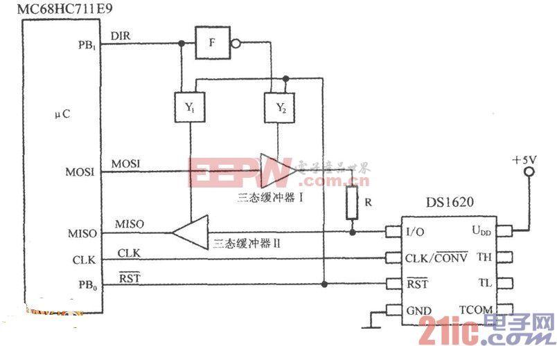智能温度传感器DS1620和SPI总线的接口电路图