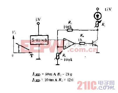 用S-8100B的LED发光输出温度补偿电路图.gif