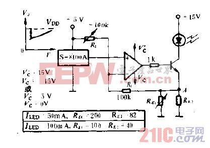 用S-8100A的LED发光输出温度补偿电路图.gif