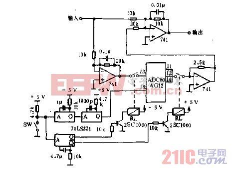 用A-D变换器的单触自动去掉偏置电压电路图.gif