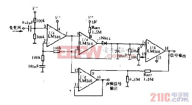 语音激发的开关及相应的放大器电路图.gif