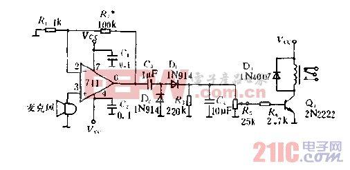 声响激发的继电器电路图.gif