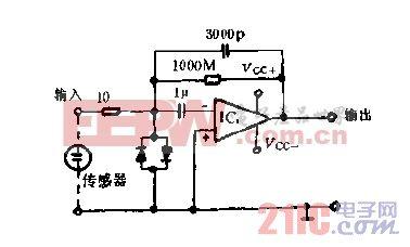 电荷前置放大器实用电路图.gif
