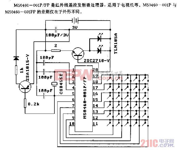 M50460-001P/FP(电视机)红外线遥控发射微处理器电路
