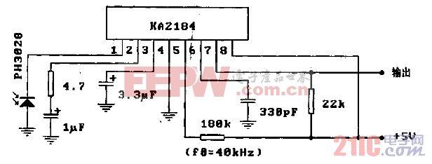 KA2184(电视机和录像机)遥控接收前置放大电路-典型应用电路.gif