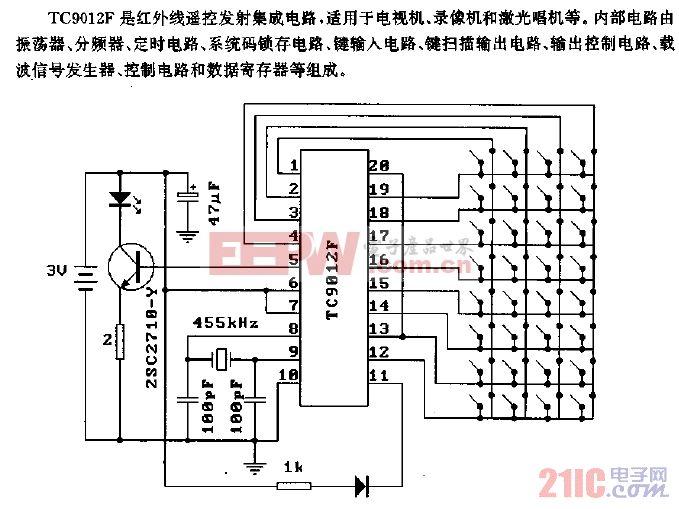 TC9012F(电视机、录像机和激光唱机)红外遥控发射电路.gif
