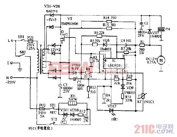 安吉尔JD-22L型冰热饮水机电路图.gif