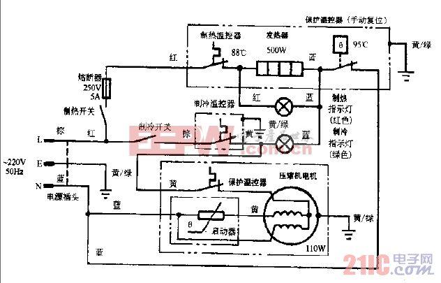 安吉尔JD-12LH豪华型冰热饮水机电路图.gif