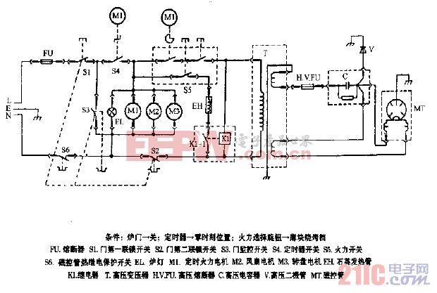 格兰仕WD700,WD800机械式烧烤型微波炉电路图.gif