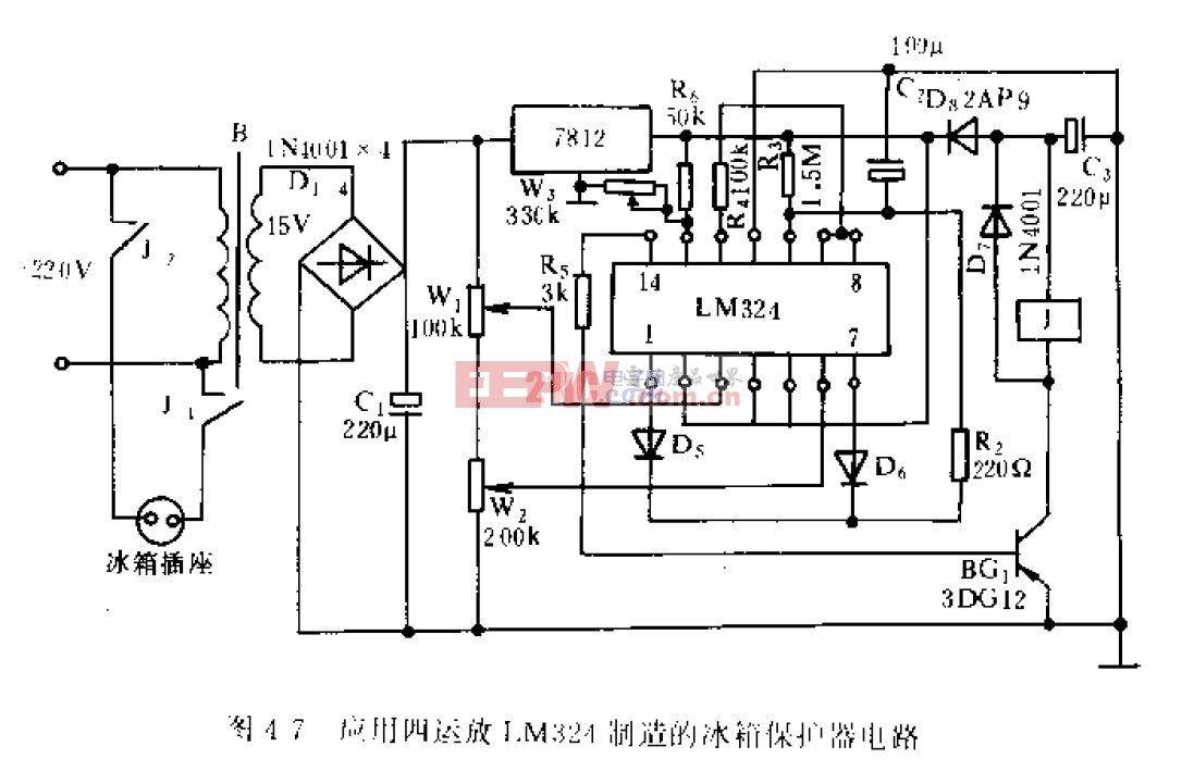应用四运放LM324制造的冰箱保护器电路.jpg