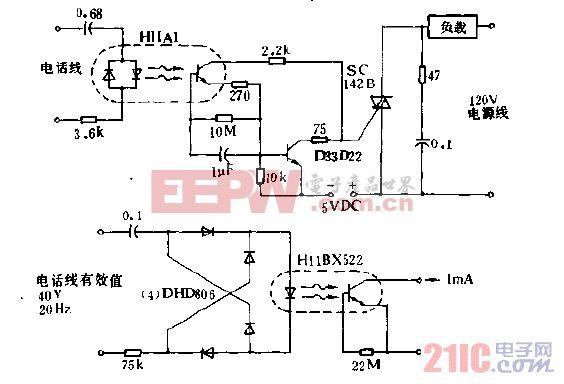 低线路负载电话铃信号检测器电路图.gif