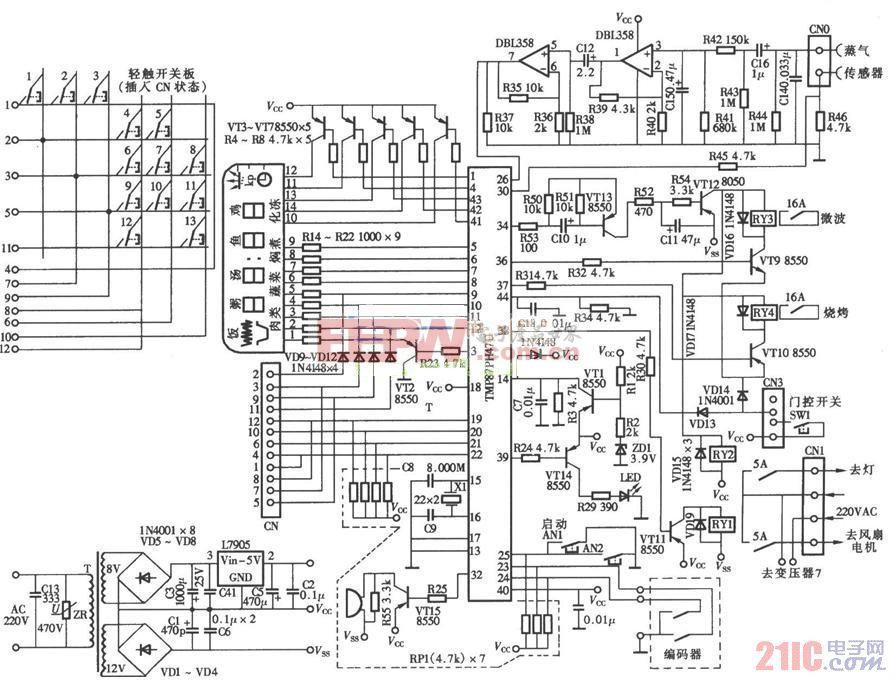 安宝路微波炉控制板电路图(TMP87PH47U).jpg