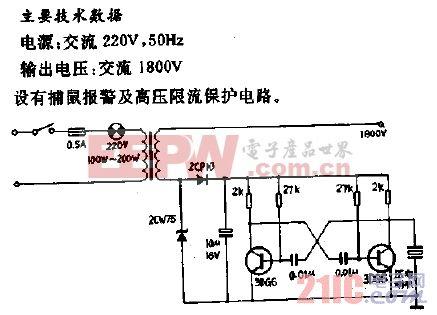 PS-1型电子捕鼠器电路.gif