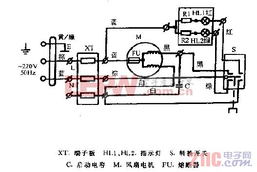金羚牌豪华型百叶窗式双向换气扇电路图(之一).gif
