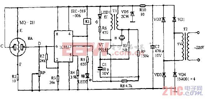 宇立牌CST-8-170型抽油烟机自动监控电路图.gif